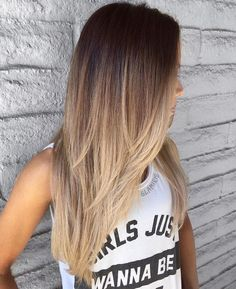 **** this cut and cascading ombré ***** Long Layered Brown To Blonde Omb., **** this cut and cascading ombré ***** Long Layered Brown To Blonde Omb. **** this cut and cascading ombré ***** Long Layered Brown To Blonde Ombre. Cabelo Ombre Hair, Baliage Hair, Haircut For Thick Hair, Hair Cuts For Long Hair Straight, Long Hair Cuts 2018, Hair Cuts For Girls, Straight Hair Highlights, Hair Girls, Long Hair Styles
