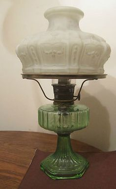 Antique Ornate Aladdin Oil Burner Lamp Light Green Depression Glass Model B | eBay
