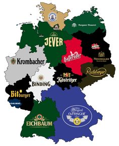 I love German beer. Most famous beer in each province // Our state (Rhineland-Palatinate) the Bitburger & also Karlsberg is among the favorite. Popular Beers, Rhineland Palatinate, Beer Company, German Language, Beer Lovers, Germany Travel, Craft Beer, Brewery, Maps