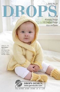 Baby Knitting Patterns Girl Buttercup / DROPS Baby – DROPS jacket with hood and slippers in Baby Meri … Baby Knitting Patterns, Knitting For Kids, Baby Patterns, Free Knitting, Crochet Patterns, Sweater Patterns, Knit Baby Sweaters, Knitted Baby Clothes, Baby Knits