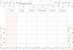 Noches de Jazmín: Imprimible: Horarios escolares