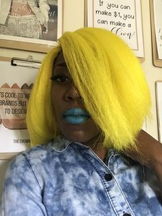 We can make one for you or teach uou how to make one Crochet Wigs, Business Hairstyles, Wig Making, Long Hair Styles, Yellow, Beauty, Long Hairstyle, Long Haircuts, Long Hair Cuts