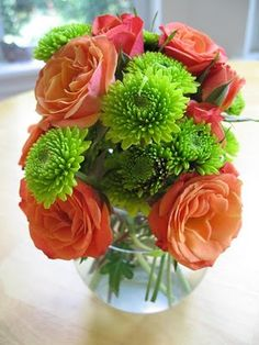 green button mums - secondary flower that sets off all other colors as contrast