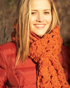This easy to crochet scarf incorporates cluster stitches for a beautiful lacy effect.