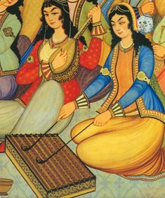 Persian Woman Depicted in 18th Century Painting: Hasht-Behesht Palace women playing the santur