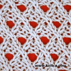 Right side of knitting stitch pattern – Lace 6