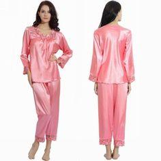 Womens Girls Silk Satin Pajamas Pajama Pyjamas Set Sleepwear Loungewear Set XS,S,M,L,XL,2XL Plus