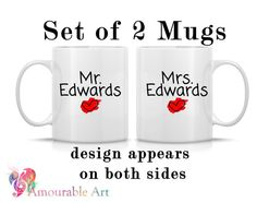 Coffee Mug, Ceramic Mug Valentine's Day, , Mug, Coffee Mug Unique Coffee Mug, 11oz or 15oz Watercolor Art Print Mug Gift, Two-Sided Print by AmourableArt on Etsy Set of 2 Mugs