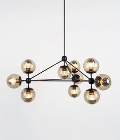New Roll&Hill MODO Chandelier 3 sided 10 globes chandelier-modern lighting Industrial Light Fixtures, Industrial Lighting, Home Lighting, Modern Lighting, Lighting Design, Pendant Lighting, Funky Lighting, Lighting Direct, Lighting Stores