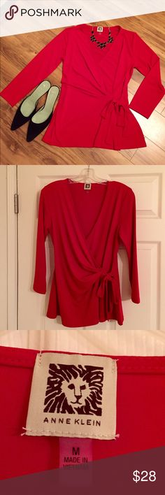 Anne Klein Red Wrap Top w/Tie Bold cherry red wrap top from Anne Klein.  So easy to wear and very flattering on!  95% polyester 5% elastane.  Great color that gets lots of attention!  Worn just twice. Anne Klein Tops