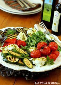 Delicious and healthy grilled and marinated vegetable antipasti à la plancha