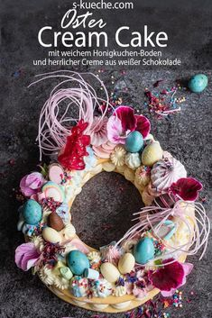 Frühlings Cream Cake – Mein Number-Letter Cake in der Oster- und Ganzjahres-Ver… Spring Cream Cake – My Number-Letter Cake in the Easter and year-round version Spring Recipes, Easter Recipes, Tapas, Baked Oats, Coctails Recipes, Sweet Bakery, Number Cakes, Edible Flowers, Edible Garden