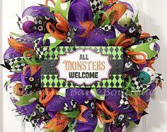 Guirnalda Halloween Feliz Halloween guirnalda, guirnalda de puerta, guirnalda del monstruo, todos los monstruos de bienvenida, decoración Halloween, decoración de Halloween