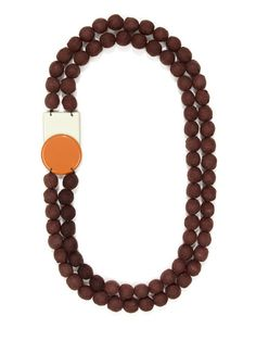 Brown Cotton Bead Double Layer Necklace by Marni on Gilt.com