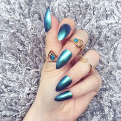 NAILED IT! Hand Painted False Nails - Chrome Holographic Blue Aquamarine by NailedItByChelsey on Etsy https://www.etsy.com/uk/listing/456757336/nailed-it-hand-painted-false-nails