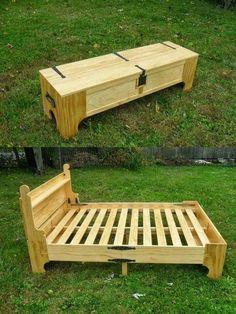 Bed in a box.   Add an air mattress and sleep under the stars.