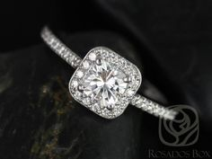 Camila 5mm 14kt White Gold Cushion FB Moissanite and by RosadosBox