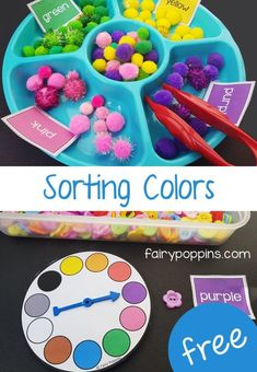 Color games and color sorting activities for kids, to help them identify colors. The activities include both an American and Australian spelling version. Color Activities Kindergarten, Color Activities For Toddlers, Colors For Toddlers, Childcare Activities, Preschool Colors, Teaching Colors, Preschool Activities, Daycare Games, Rainbow Activities