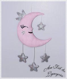 Mobile suspension décoration murale à suspendre princesse lune