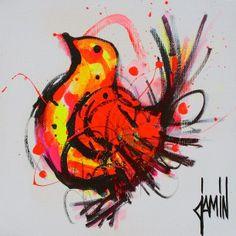 Petit oiseau - acrylique sur toile - 20x20cm - année 2015