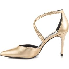 Aldo Women's Newbrook - Champagne ($90) ❤ liked on Polyvore featuring shoes, gold shoes, off white shoes, stiletto high heel shoes, gold stilettos and aldo shoes