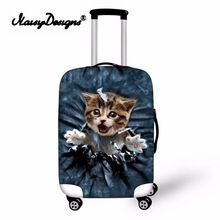 Baggage Covers Cute Colorful Cartoon Cat Heads Pattern Washable Protective Case