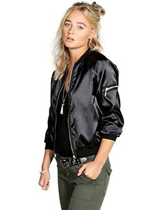 Bifast Women's Ladies Classic Quilted Jacket Long Sleeve Coat Bomber Jacket omen's Utility Bomber Anorak Baseball Twill Jackets