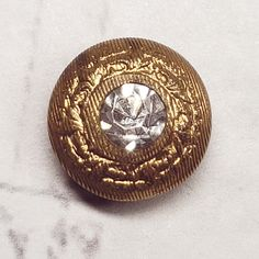 Gold Metal shank button W chain 16mm Filigree Textured Round Shield Steam Punk