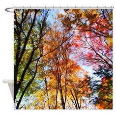 Stained Glass Landscape Shower Curtain On CafePress