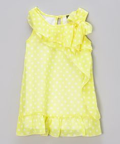 Another great find on #zulily! Yellow Polka Dot Ruffle Dress - Toddler & Girls by Zunie & Pinky #zulilyfinds