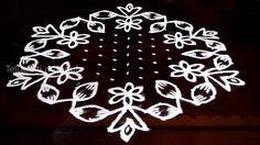 Sankranthi kolam designs with15-8 middle | chukkala muggulu with dots| r...