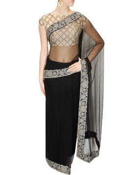 Black embroidered net sari available only at Pernia's Pop Up Shop.