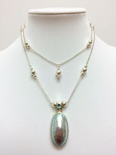 New pearl & Sterling silver convertible necklace can be worn long or short.