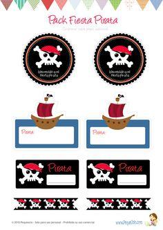 Invitaciones y adornos para fiesta pirata
