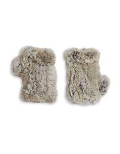 Surell Rabbit Fur Fingerless Gloves Women's Grey