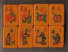 EASTERN Mah Jong set, Flower tiles