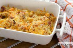 Patatas a la carbonara. Fotos del paso a paso, los ingredientes y la presentación. Trucos y consejos de elaboración. Recetas de salsas y...