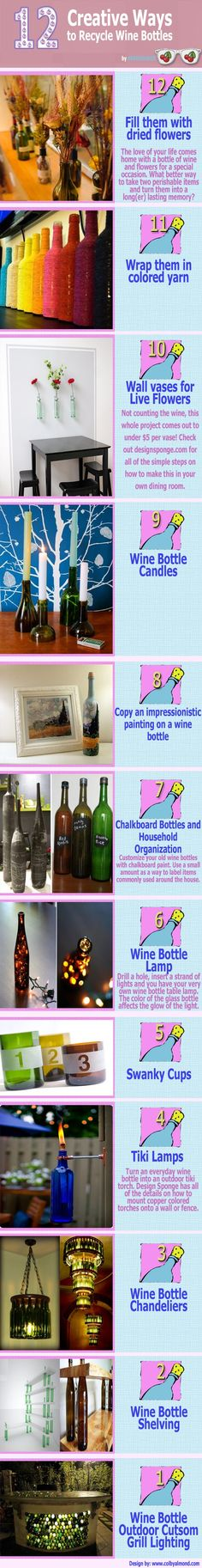 12 Creative Ways to Recycle Wine Bottles:    7) Chalkboard Bottles and Household Organization: Customize your old wine bottles with chalkboard paint. Use a small amount as a way to label items commonly used around the house.