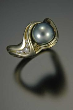 Tahitian pearl and diamond ring by Tom Dailing