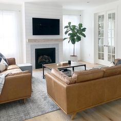 Timber Charme Tan Sofa – Modern Contemporary Chic Home – fireplace Tv Over Fireplace, Shiplap Fireplace, Home Fireplace, Living Room With Fireplace, Fireplace Surrounds, Fireplaces, Modern Fireplace, Boho Living Room, Living Room Decor