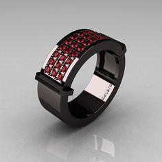Gentlemens Modern 14K Black Gold 33 Stone Rubies Ring MR184-14KBGBR. $2,099, via Etsy.