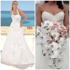 Wit met roze boeket met Ladybird trouwjurk van www.weddings.nl