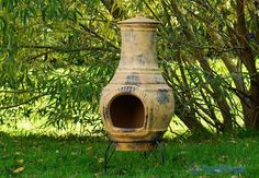 outdoor fireplace, garden mexican chimenea