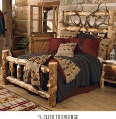 Elk Antler Aspen Log Bed - King