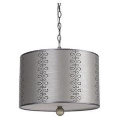 Metal pendant with a bottom diffuser and fabric drum shade.     Product: Pendant    Construction Material: Metal and fabric    Color: Gray and silver    Features: Can be plugged in or hard wiredComes with 10' of chainBottom diffuser for even light distribution  Accommodates: (3) 60 Watt Edison base bulbs - not includedDimensions: 12.5 H x 16 Diameter          Cleaning and Care: Wipe with a soft cloth