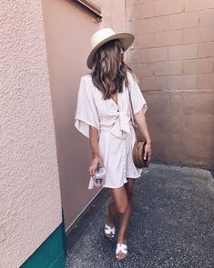 Women's Greece Sandals | Circle Straw Crossbody Bag | Vinci Dress #shopthelook #WeekendLook #ad #fashion #TravelOutfit #BeachVacation