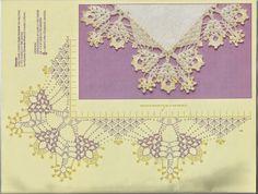 Mania-de-Tricotar: Barradinho de canto lindo!!!! Crochet Doily Diagram, Crochet Edging Patterns, Crochet Lace Edging, Crochet Borders, Crochet Chart, Thread Crochet, Crochet Doilies, Crochet Flowers, Crochet Blanket Border