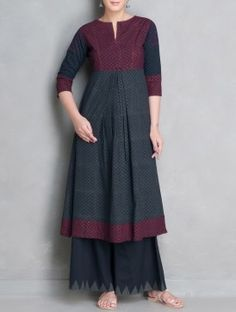 Indigo-Maroon Printed Pleated Mangalgiri Cotton Kalidar Kurta