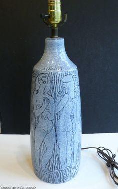 RARE Charles Sucsan NUDES EROTICA Ceramic Lamp Mid-Century Modern Canada #MidCenturyModern #CharlesSucsan