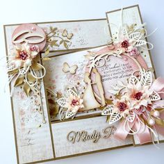 kartkulec, Wedding card with flowers in pastel colors, close